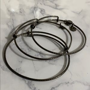 Alex and Ani set of 3 Filler Stacking Hematite